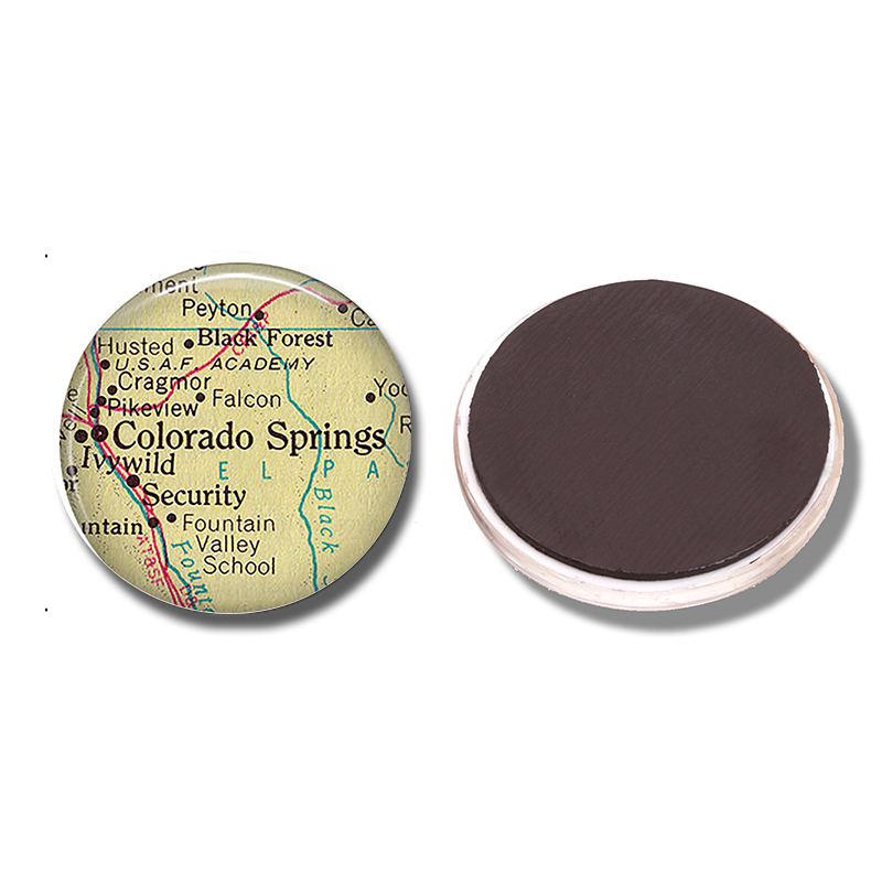 Colorado Springs Map 30 Mm Fridge Magnet Black Forest Map Glass Cabochon Magnetic Refrigerator Stickers Note Holder Home Decor