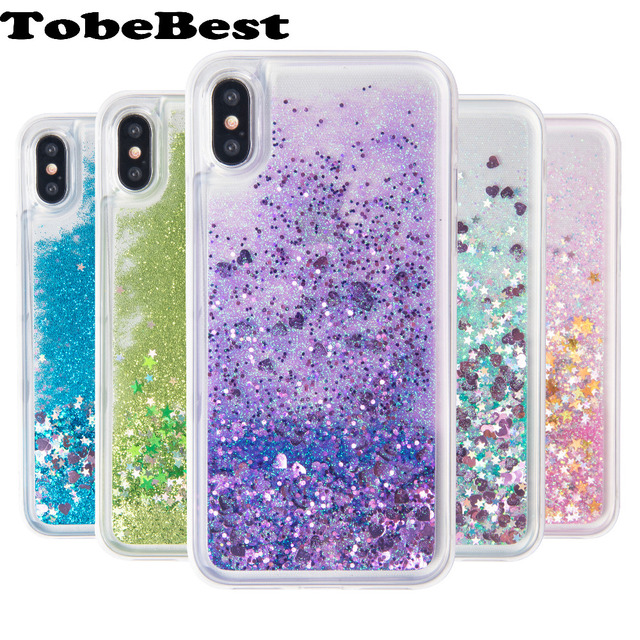new concept 25302 4e3e7 US $5.8  TobeBest For iphone X Case Dynamic Liquid Glitter Sand Quicksand  Star Soft TPU Case SFor iphone X Crystal Clear Back Cover Coque-in Fitted  ...