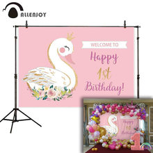 Allenjoy birthday backdrop photophone swan pink golden Custom made girl photocall photography wallpaper photographic background(China)