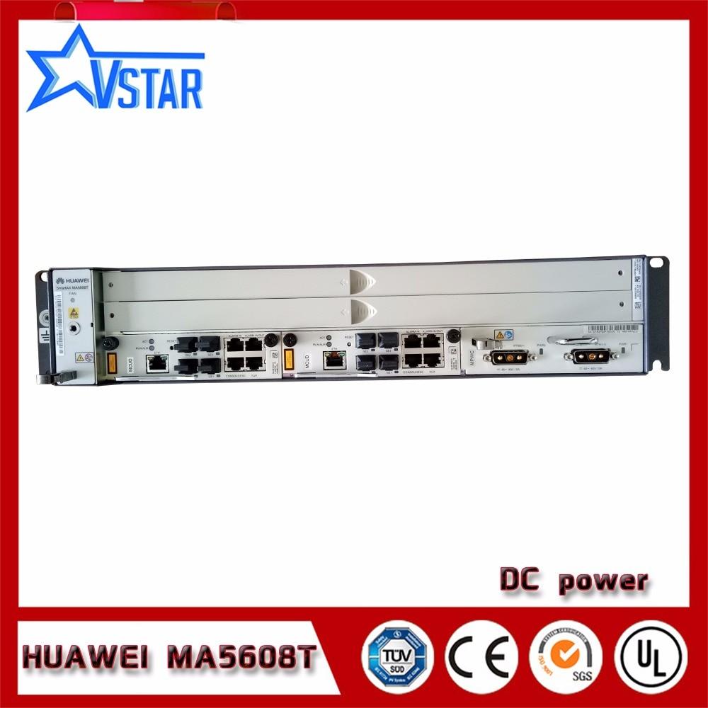 Mini OLT GPON OLT MA5608T Hua wei original, DC Terminal De Linha Óptica com UM GPBD ou um GPFD, 2U altura
