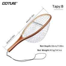Goture Fly Fishing Landing Net Nylon Material +Wooden Handle Catch Winter Cold Water Stream Trout Salmon Steelhead Fishing Tool
