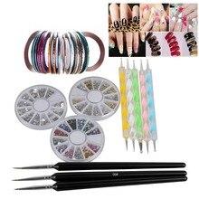 3 Wheel Nail Rhinestones + 30Pcs Mixed Colors Nail Rolls Striping Tape Line + 8pcs Pro Acrylic Nail Art Painting Dotting Pen