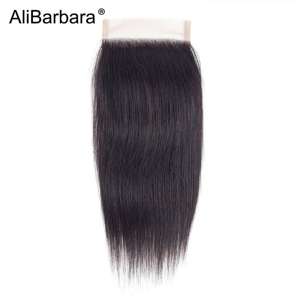 Alibarbara волос 4*4 Кружева Закрытие Малайзии Прямые человеческих волос Застежка Бесплатная/средний/третья часть 120% плотность 8-20 дюймов