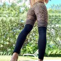 Leggings de leopardo sexys para mujer Leggings deportivos delgados de cintura alta malla Patchwork pantalón Push Up entrenamiento Jeggings Fitness Mujer Leggings