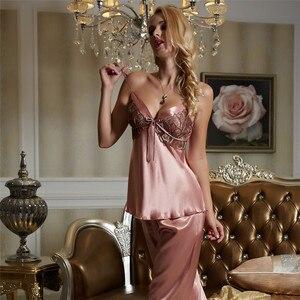 Image 5 - Xifenni Pajama Sets Female Faux Silk Sleepwear Women Sexy Satin SILK Pyjamas Three Piece Sexy Lace Home Clothing 1531