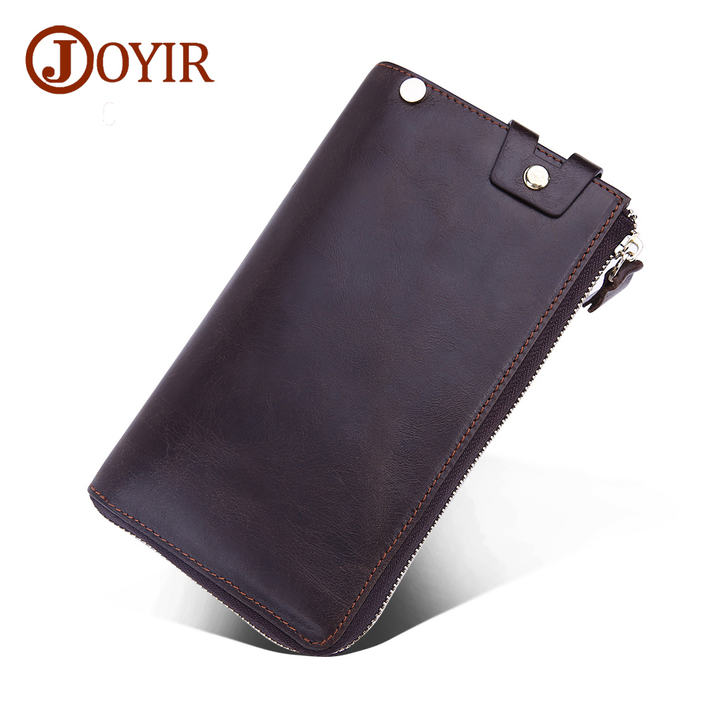 JOYIR 2017 New Man Genuine Leather Solid Long Wallet Zipper Money Holder Business Men Clutch Bags Card Holder Purse Hand Bag9338
