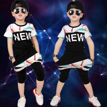 Boys Clothing Set New 2017 Summer Children Hip hop Short Sleeves Shirts+Harem Pants Outfits Casual Sport Kids Clothes for 3-10 y