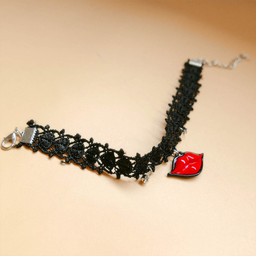 Fashion Gothic Style Black Tattoos Lace Anklets with Rhinestone Red Lip Charm Beach Barefoot Sandals Foot