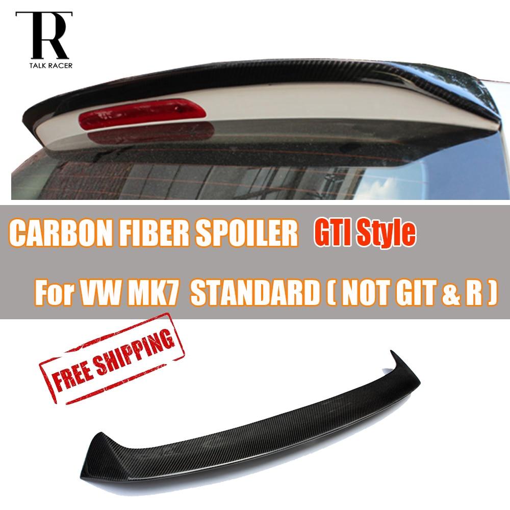 MK7 Golf 7 Standard Car Carbon Fiber Rear Roof Wing Spoiler GT Style 2014 2017