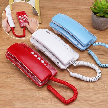 Red Wall Mount Corded Phone Telephone Redial Anti-interference Business Home Office Desktop Phone 17.5*8.5*6cm