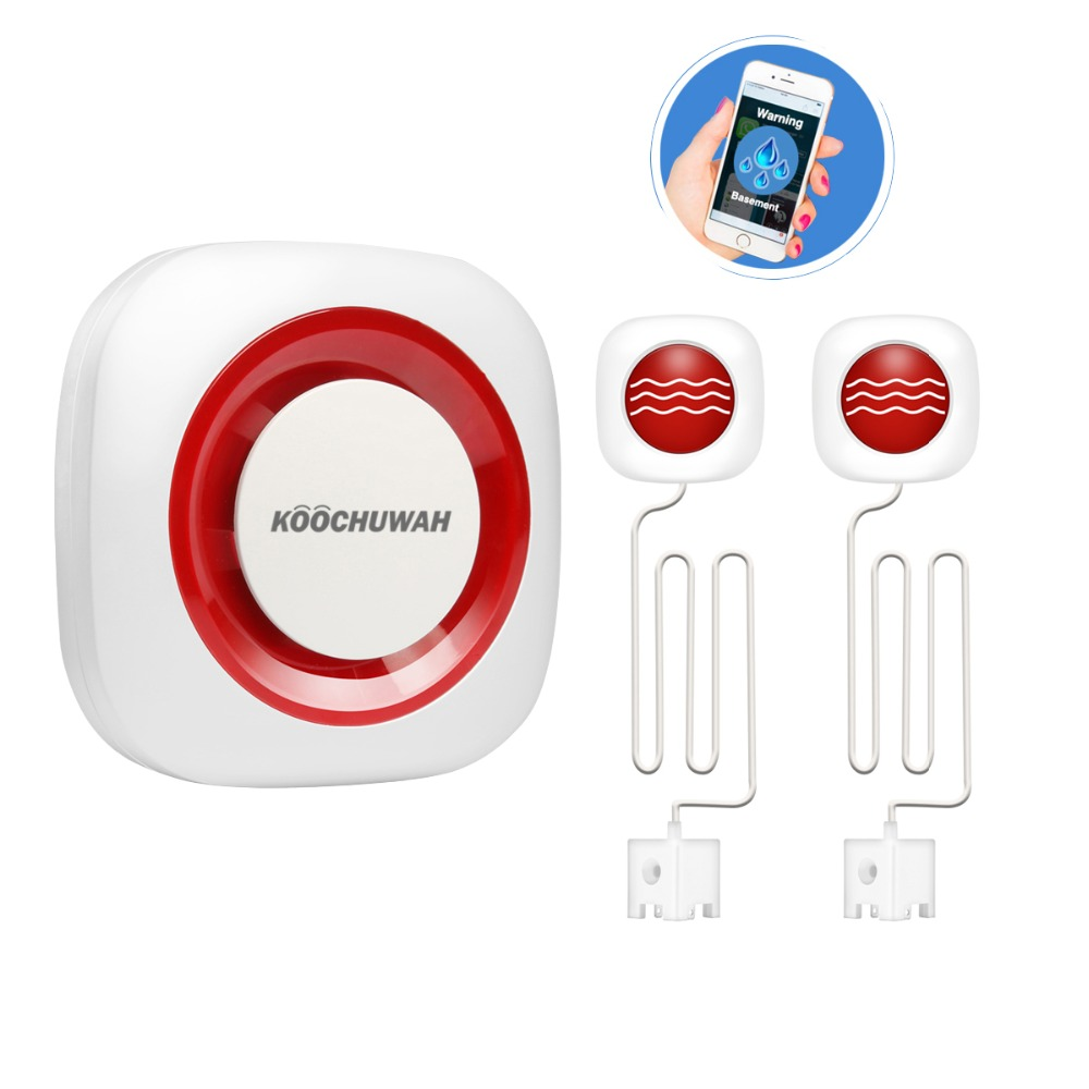 KOOCHUWAH Water Leak Protection Pool Alarm GSM Smartphone Call Message Notice Wireless Leak Water Detector Flood Sensor Alarm