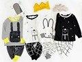 Pijamas de los Niños Los Muchachos Del Algodón Ropa de Cuello Redondo de Manga Larga Que Arropan Los Pantalones de Pijamas de Los Muchachos del Otoño Niños Traje de Dos Piezas