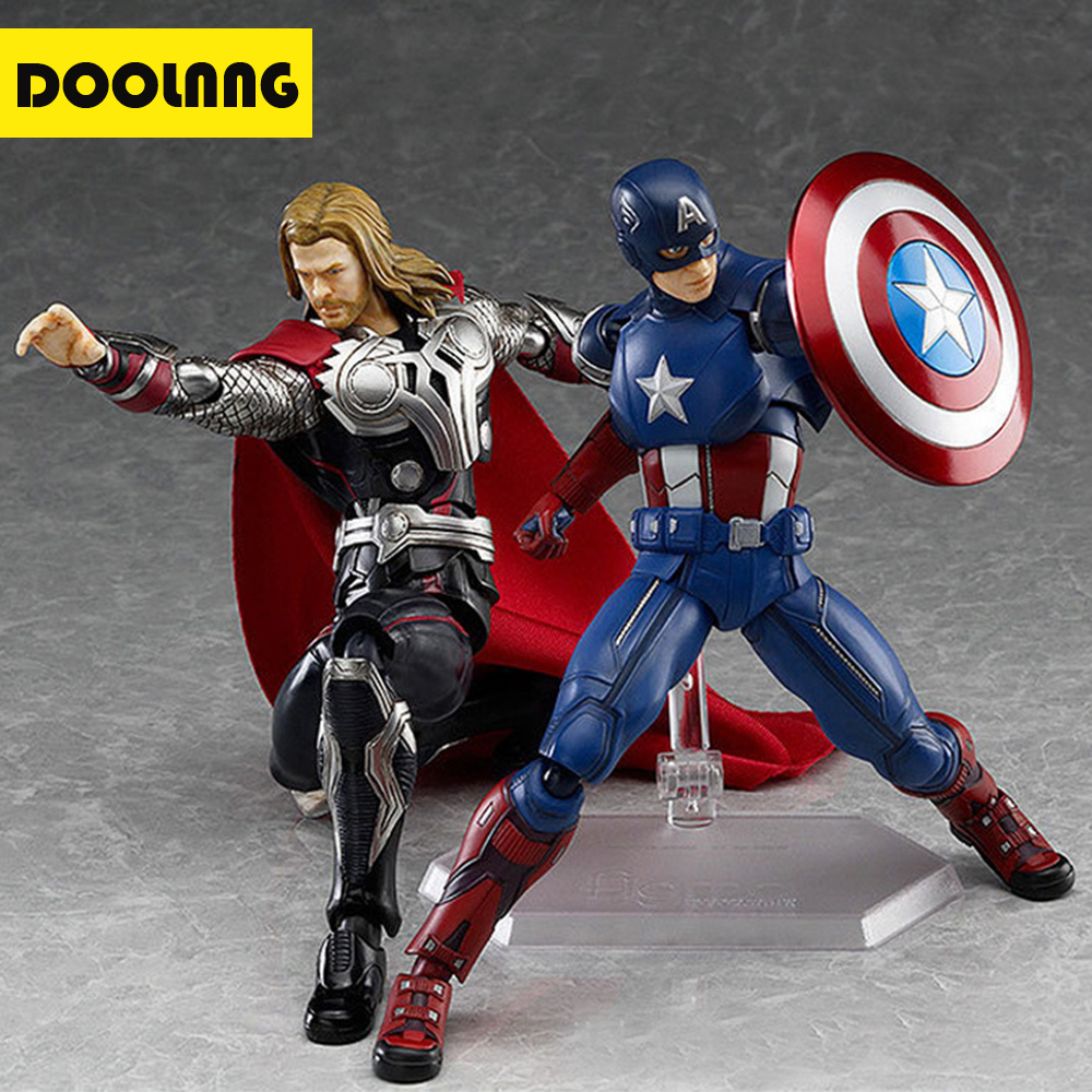 DOOLNNG 16cm Captain America / Thor Superhero Avengers Action Figure Toy PVC Desktop Decorative Model Toys For Kids Gift DL-229 14cm pvc movable avengers union captain america thor action figure car furnishing articles model holiday gifts children s toys