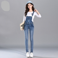 2017 New women's denim bib pants spring and autumn overalls skinny fit plus size one piece jumpsuits trousers