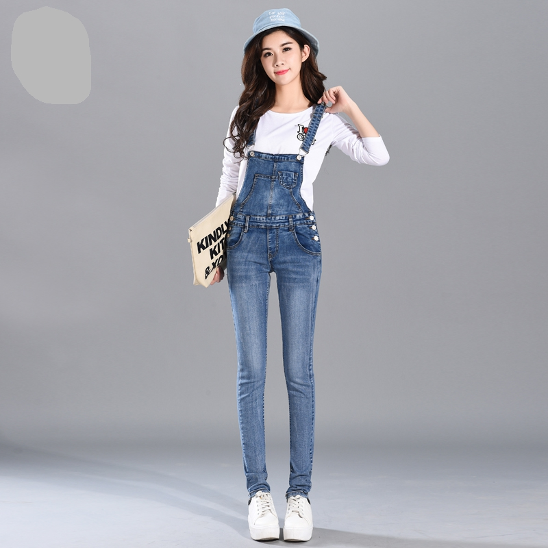 2017 New women's denim bib pants spring and autumn overalls skinny fit plus size one piece jumpsuits trousers plus size pants the spring new jeans pants suspenders ladies denim trousers elastic braces bib overalls for women dungarees
