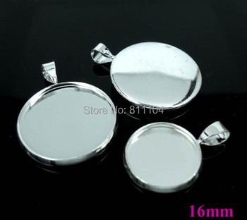 16mm New Silver tone Plated Circle Blank Bases Cabochon Settings Round Bezel w/ a bail Pendant Blank Findings Bulk Wholesale
