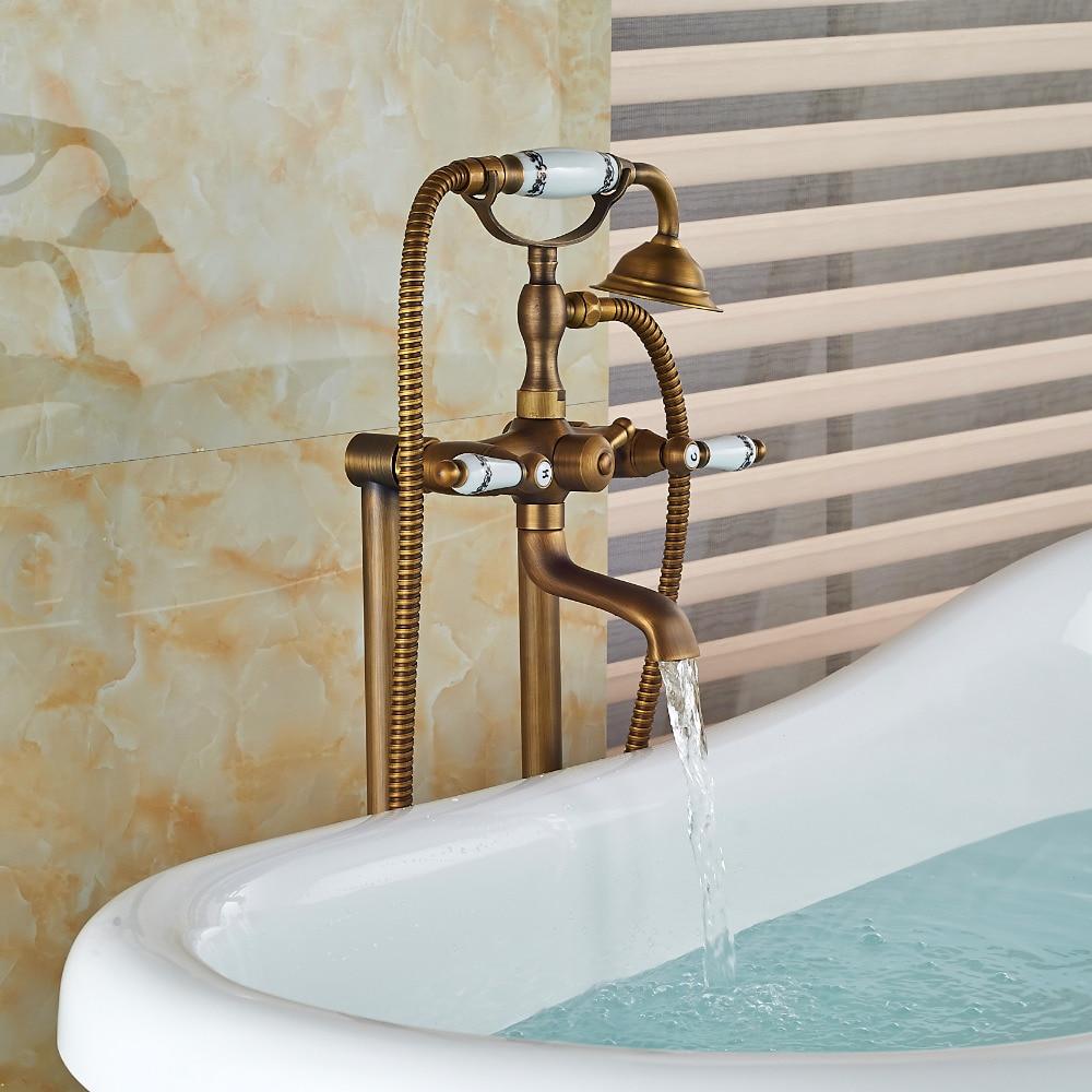 Floor Mount Bathroom Claw foot Bath Tub Faucet Free Standing Brass ...