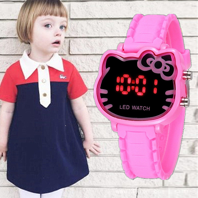 Enfant Ceasuir Cute Pink Hello Kitty Led Digital Watches For Girl Female Baby Cl