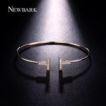 NEWBARK Double T Bangles Chic T Cuff Tiny Cubic Zirconia Paved Delicate Wrist Jewelry Minimalist Bracelets For Women