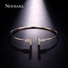 NEWBARK Double T Bangles Chic T Cuff Tiny Cubic Zirconia Paved Delicate Wrist Jewelry Minimalist Bracelets