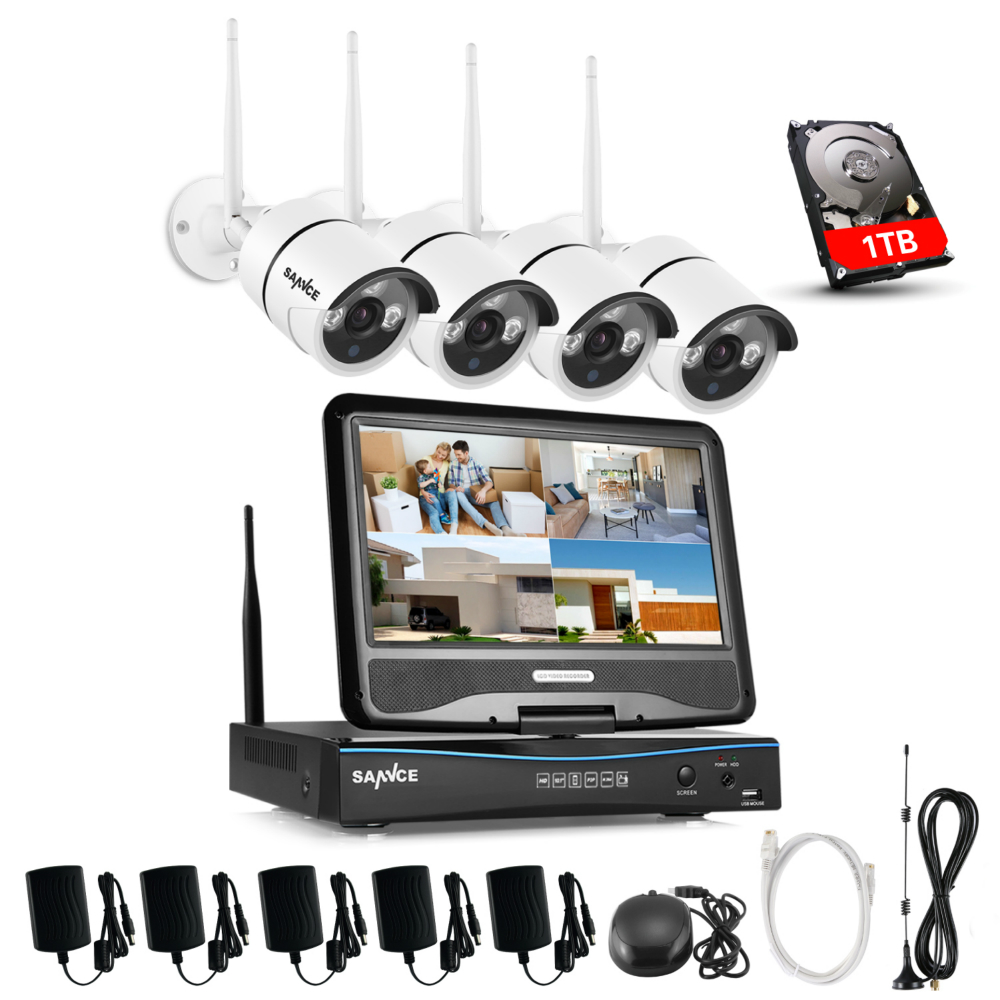 SANNCE 4CH HD Wireless CCTV System 10 1 LCD Displayer 720P 2 4G Wifi NVR HD