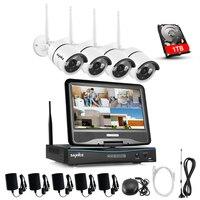 Sannce 2.4 г 10.1 ЖК дисплей 4CH HD Беспроводной 720 P Wi Fi NVR 1500TVL в/Открытый ИК ip камеры охранных Камера системы