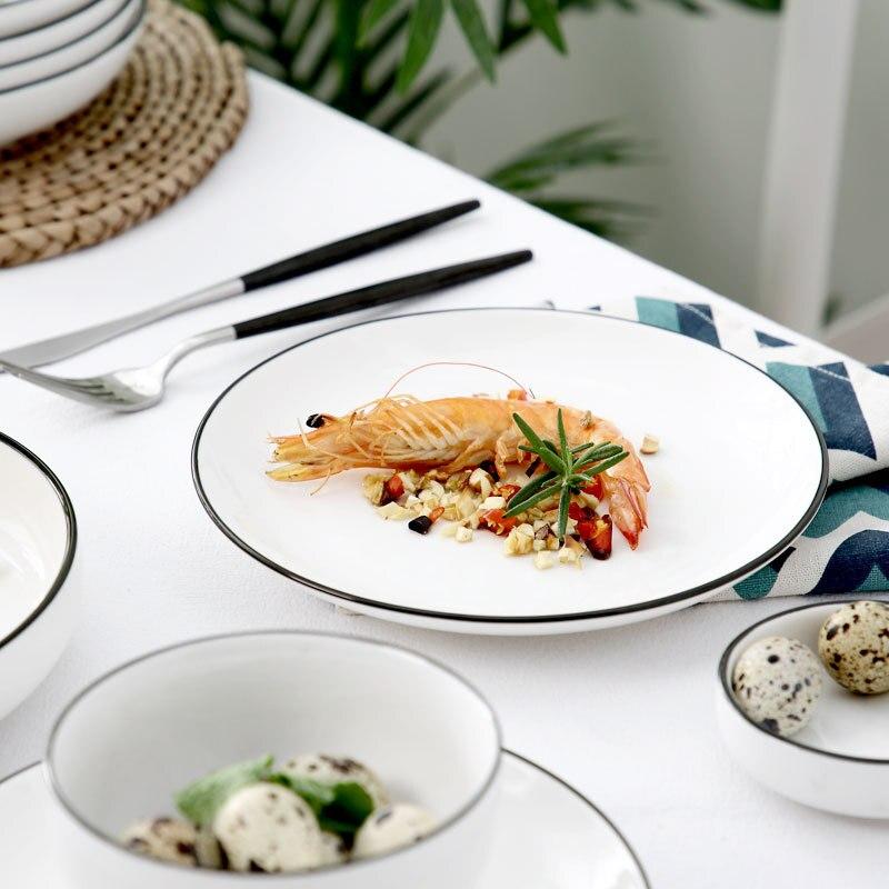 10pce/set ins 스타일 하이 엔드 뼈 중국 식기 세트 가정용 디너 플레이트 쌀 그릇 수프 스푼 칼 붙이 2 인용 세트-에서식기 세트부터 홈 & 가든 의  그룹 3