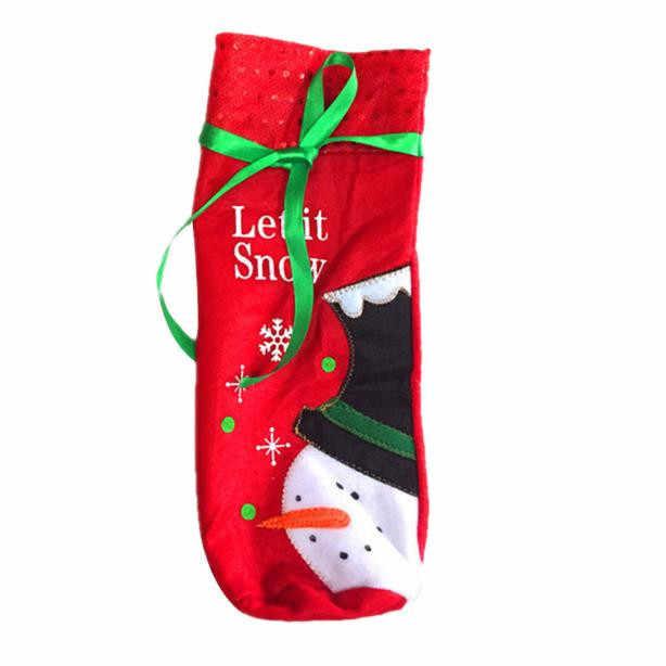 Чехол для бутылки вина, сумки для украшения дома, вечерние, Санта-Клаус, Рождество