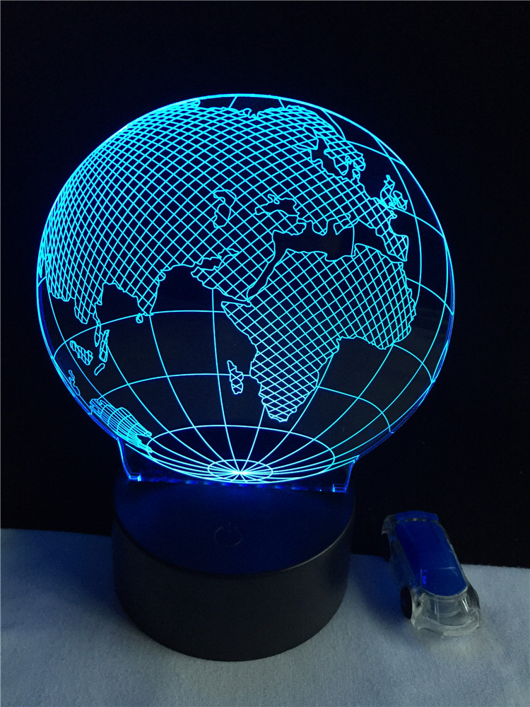 Earth Europe Africa Map Globe 3D Lamp LED USB Multicolor Night Light Child Classroom Home Bedroom Study Desk Decorative Lighting image