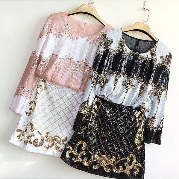 Royal Luxury Party Skirts Suits 2018 Shiny Sequined Vintage Embroidery Tops And Sparkle Golden Skirt Suits Clothing Set NS386