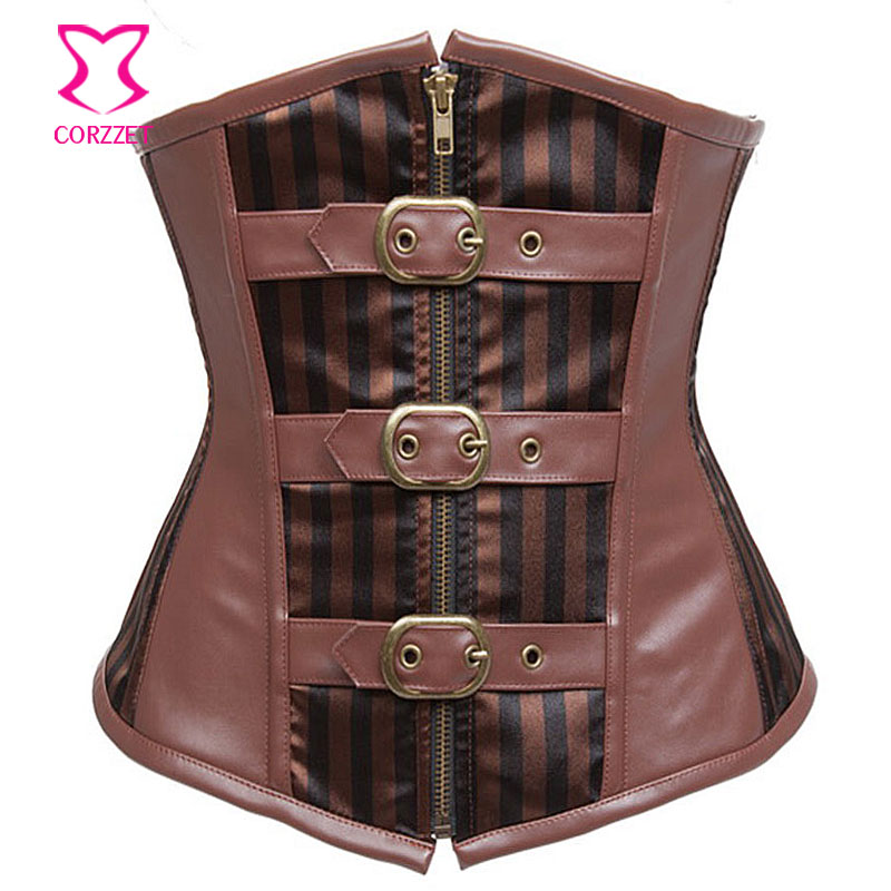 Brown Striped Satin & Faux Leather Cupless   Bustier   Sexy Underbust   Corset   Steampunk Clothing Women Steel Boned   Corsets     Bustiers