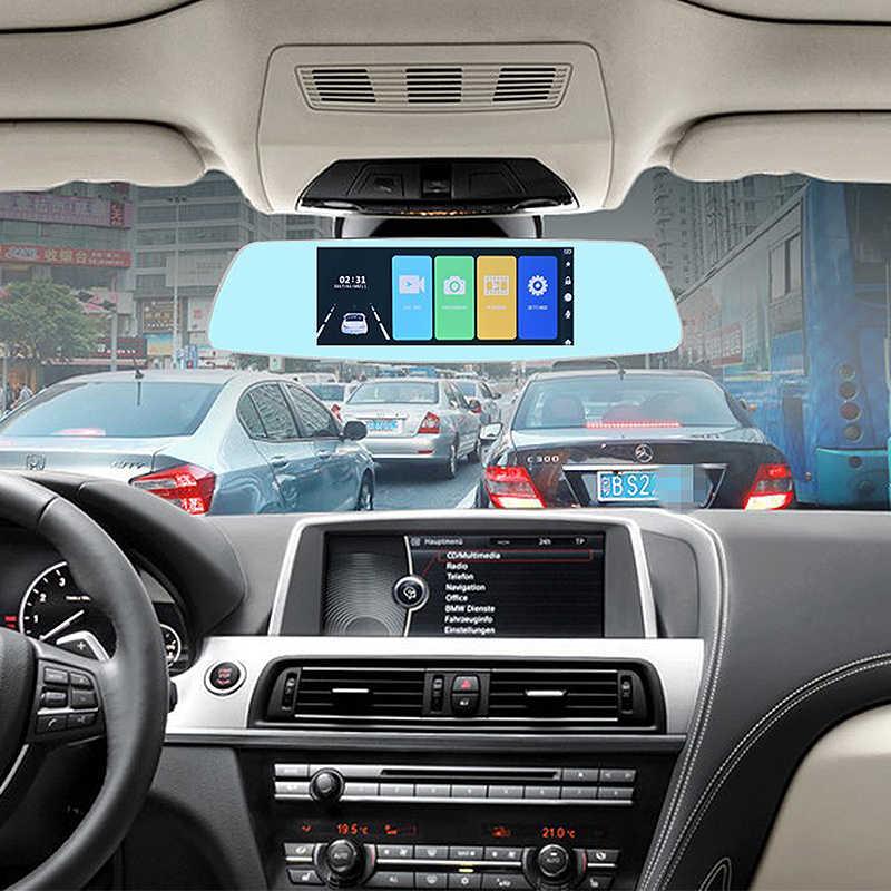 Coche Dvr 5/7 pulgadas pantalla táctil espejo retrovisor Super visión nocturna 1080P Dash cámara de doble lente Video Monitor de aparcamiento