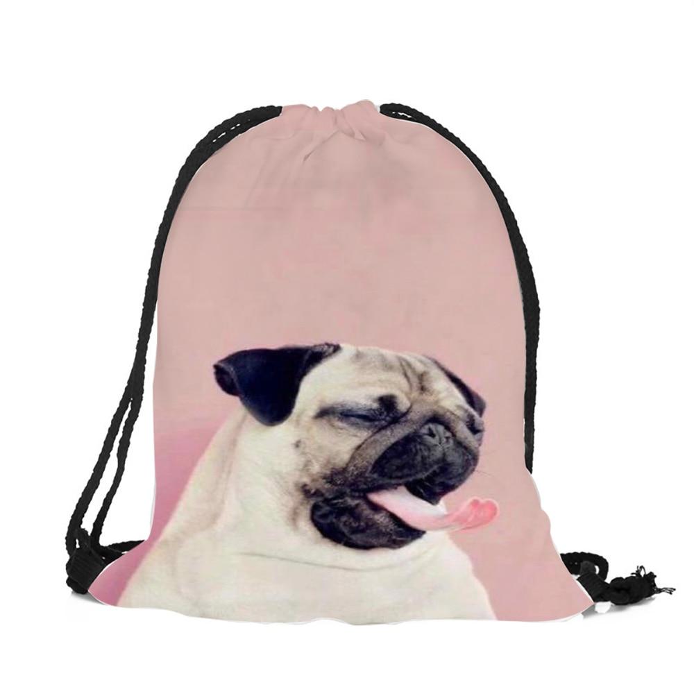Pug Art Drawstring Backpack Rucksack Shoulder Bags Training Gym Sack For Man And Women