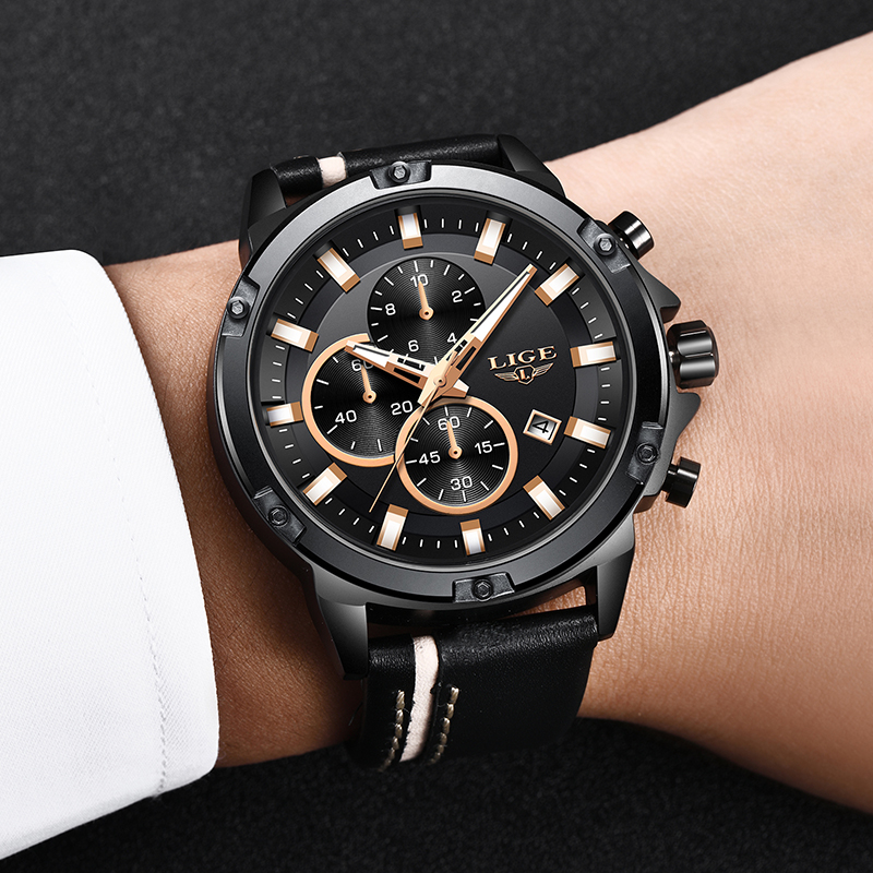 2019LIGE Men Watches Fashion Chronograph Male Top Brand Luxury Quartz Watch Men Leather Waterproof Sport Watch Relogio Masculino