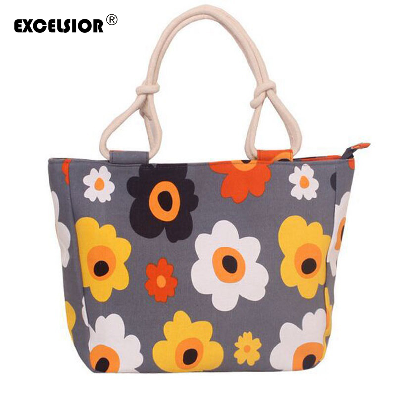 EXCELSIOR 2018 Women Beach Bag Canvas Fashion Shopping Handbags Flower Print Stripes Large Tote Shoulder Bags Feminina Bolsos excelsior waterproof canvas casual zipper shopping bag large tote women handbags floral printed ladies single shoulder beach bag