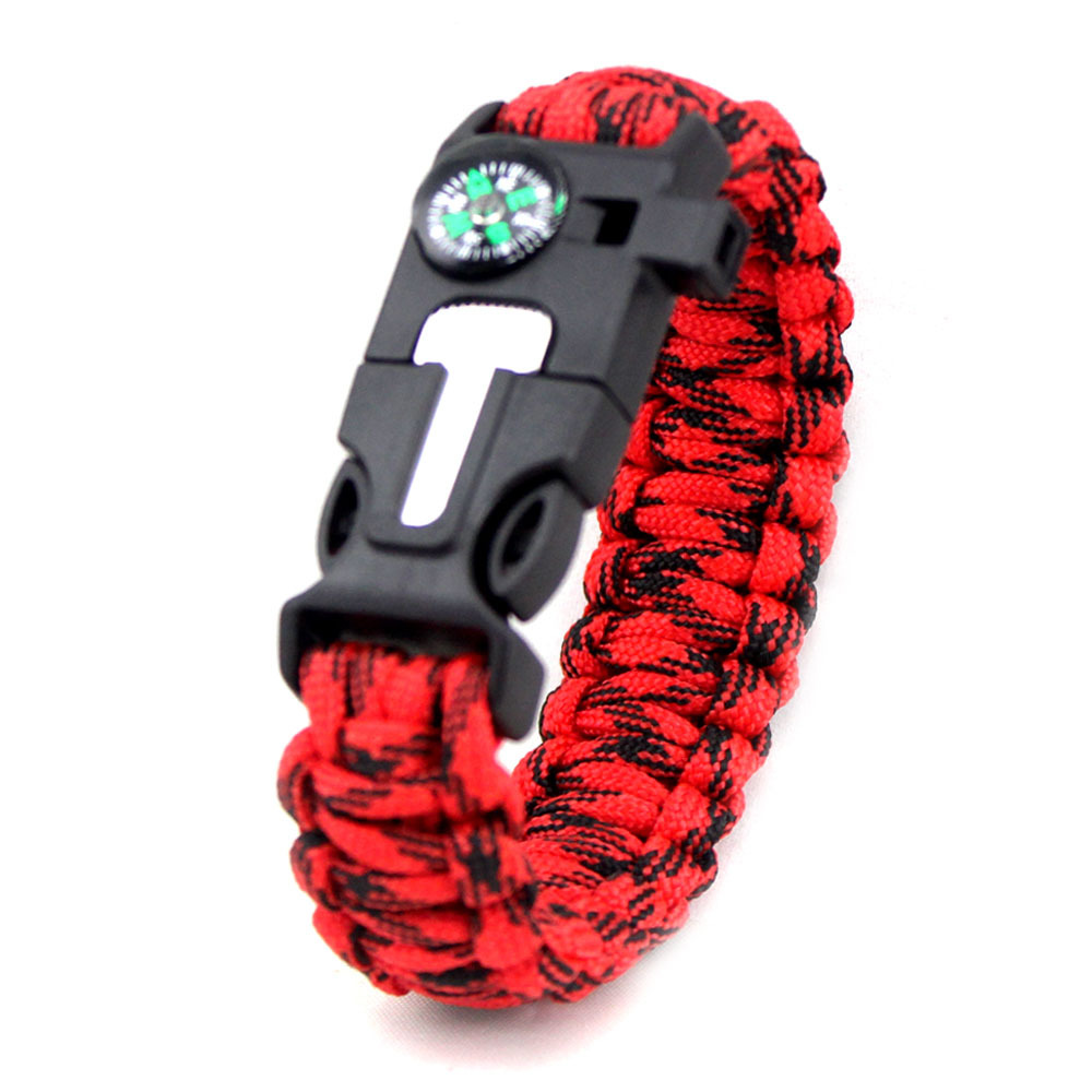 Outdoor Survival Bracelet Braided Paracord Multi Tool For Travel Hiking Camping Rescue Emergency RopeBangles Compass Whistle