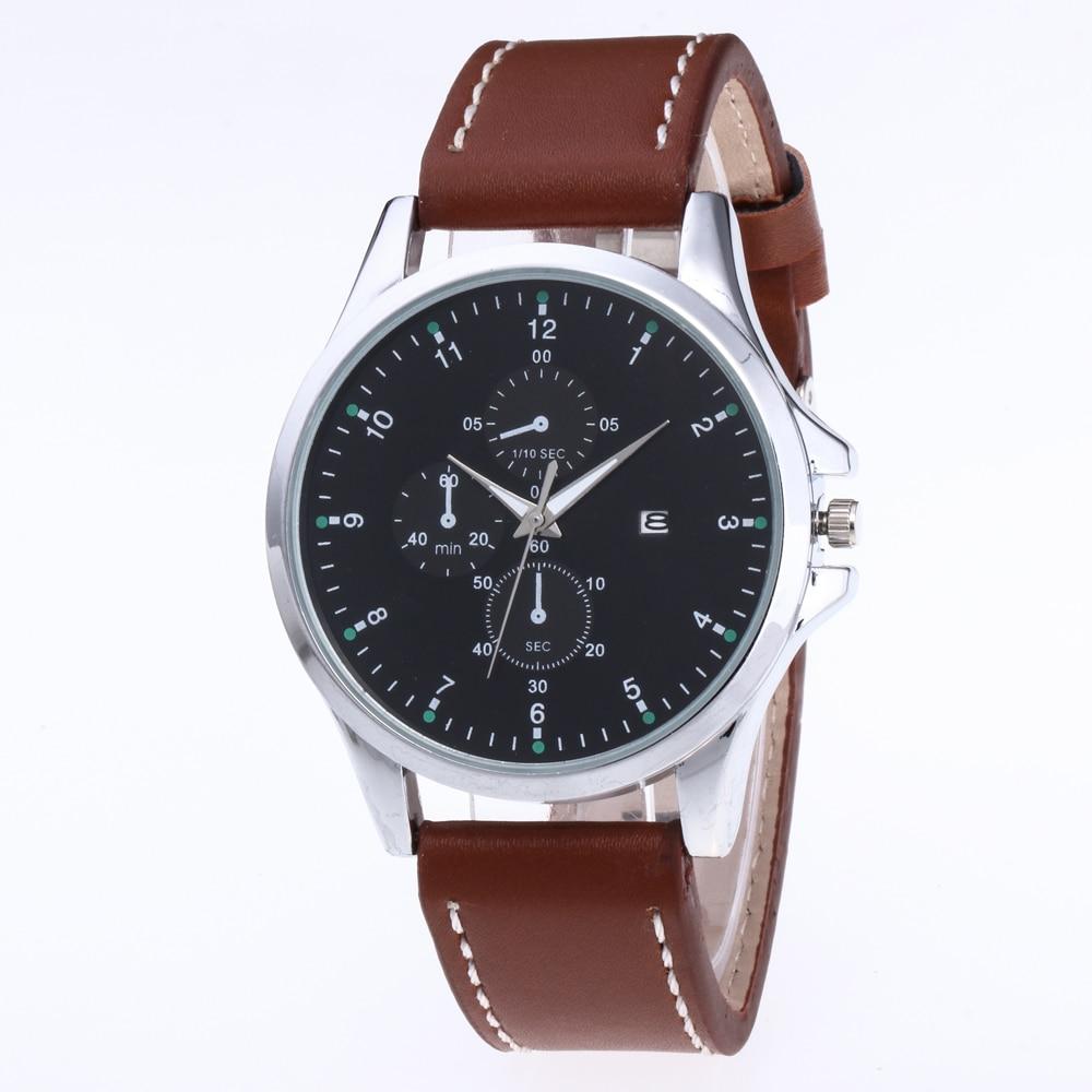 Retro Design Leather Band calendar Watches Men Top Brand Relogio Masculino 2018 NEW Mens Sports Clock Analog Quartz Wrist Watche
