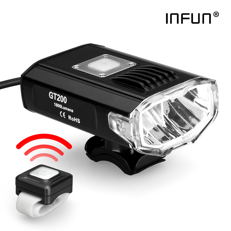 INFUN GT200 Remote Control Bicycle Front Light 2200 Lumen USB Rechargeable MTB Headlight IPX 4 Cycling