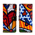 BRITTO 2017  PU Leather Wallet For Coin & Cash Girl Long Handmade Money Clips Ladies Graffiti Hasp Clutch Purse Female Money Bag