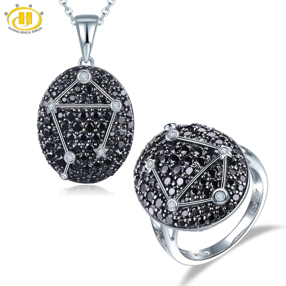 Hutang Libra Black Spinel Jewelry Sets Pendant Ring 925 Silver Sign Fine Jewelry for Women s