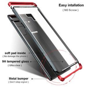 Image 3 - オリジナル LUPHIE サムスンギャラクシー注 9 金属バンパークリア強化ガラスカバー Note9 透明ケース Coque バッグ