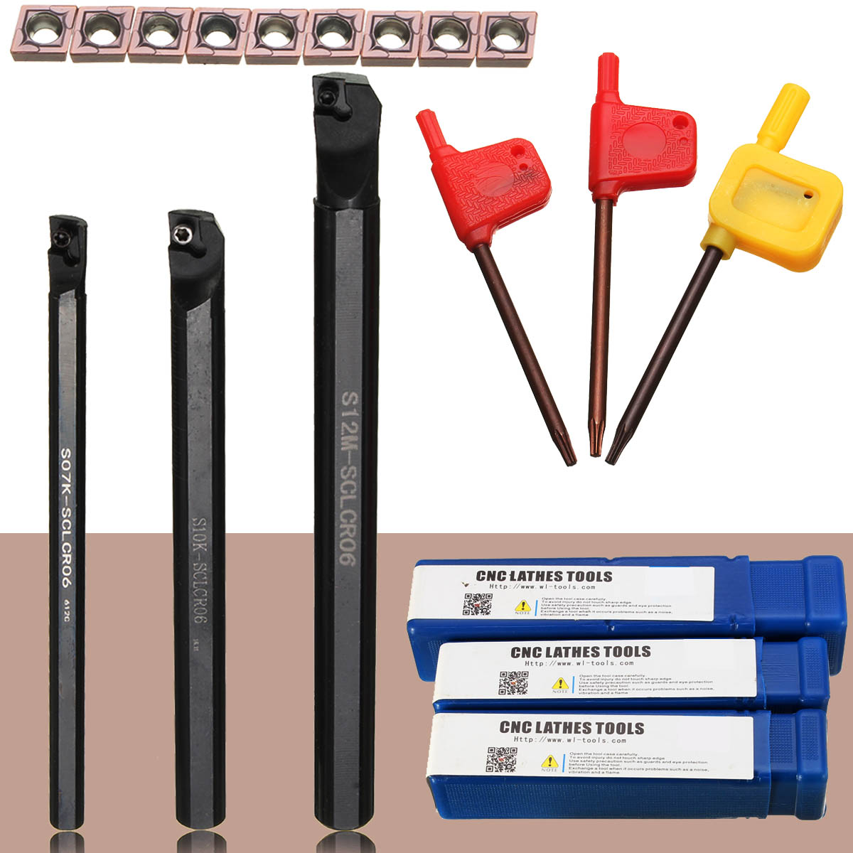 1pcs S07K-SCLCR06+1pcs S10K-SCLCR06+1pcs S12M-SCLCR06 Lathe Holder Turning Tool Boring Bar 7/10/12mm + 10pcs CCMT0602 Inserts