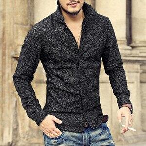 Image 1 - Черная джинсовая рубашка Для мужчин брендовые Длинные рукава стенд воротник Для мужчин рубашка с цветочным узором печати случайные slim fit camisa социальной masculina S2002