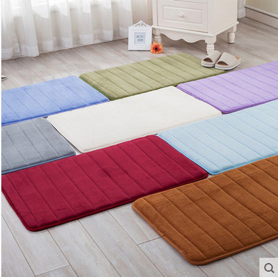 80*160cm New Coral Fleece Bedroom Of The Bed Carpets Kitchen/Bathroom/Toilet Non-Slip Mats Pure Color Striped Rugs