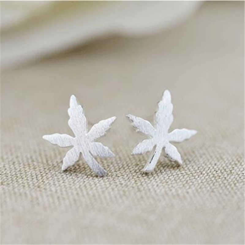 2018 moda 100% 925 prata esterlina jóias maple folhas parafuso prisioneiro brincos para mulher sterling-silver-jewelry eh546