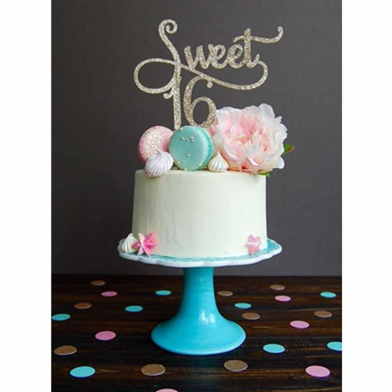 1 шт. Сладкая 16 Золотая монограмма торт Топпер буквы на торте 16 день рождения темы вечерние приборы для декорации выпечки 12 июня