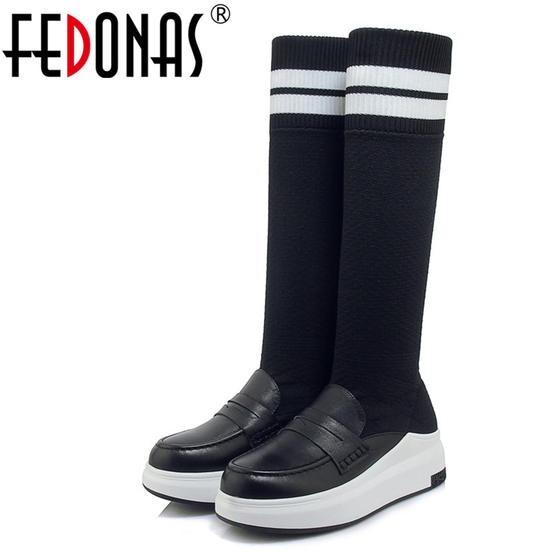 FEDONAS1Fashion Women Knee High Boots Genuine Leather Autumn Winter Warm Wedges High Heels Shoes Woman Casual Quality High Boots woman real leather knee high boots top quality side tassel embellished female knee high boots girls slip on wedges casual shoes