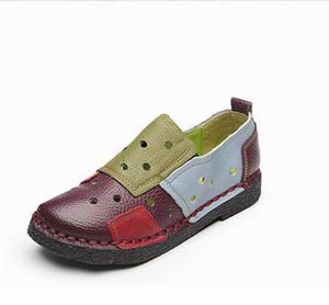 Image 4 - Женские лоферы из натуральной кожи GKTINOO, Модные Разноцветные Повседневные туфли ручной работы, мягкая удобная обувь на плоской подошве