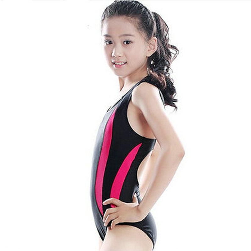 db3284f984165 12 18 age 2016 new young girl professional sport swimming wear girls swim  dress swimsuit cute swimwear black blue color-in One-Piece Suits from Sports  ...