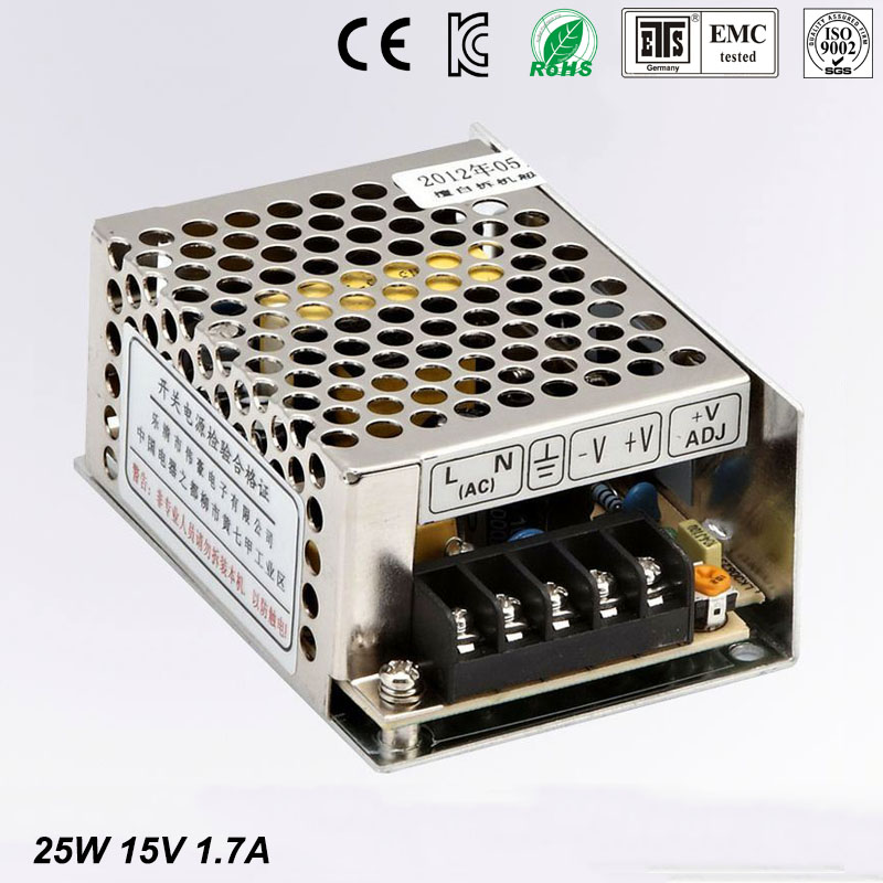 Small Volume Single Output mini size Switching power supply 15V 1.7A ac dc LED smps 25w output Free shipping MS-25-15